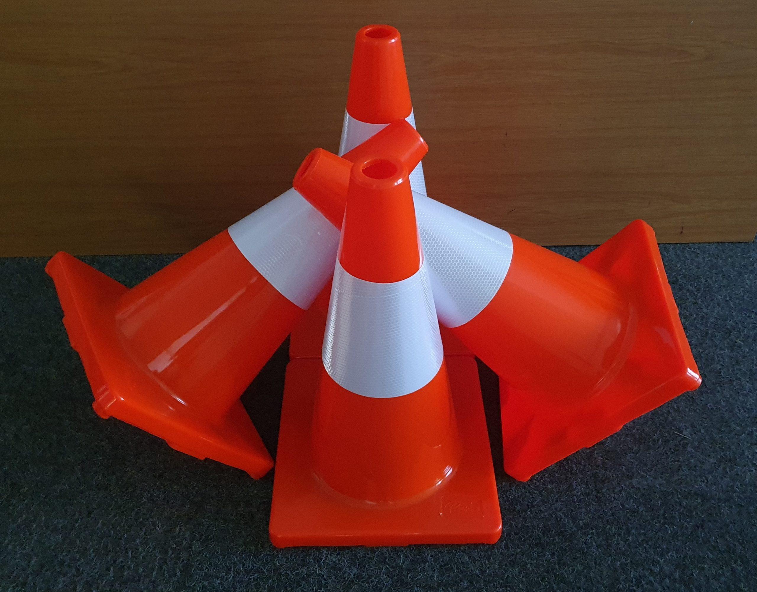 Orange barrier cones