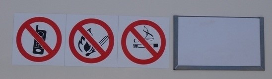 Prohibition decals (No Naked Flame, No Smoking, No Cellphone decals)